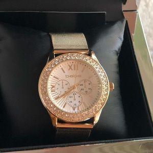 💝Authentic Bebe Gold Watch/Rhinestones New